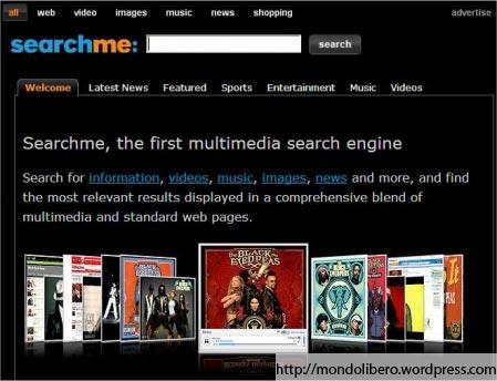Searchme: Motore di ricerca visuale