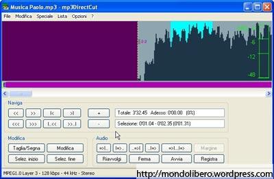 Tagliare file Mp3